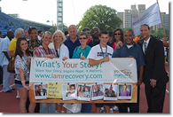 "Campaign Spotlights with OASAS Commissioner Karen M. Carpenter-Palumbo and Executive Deputy Commissioner Kathleen Caggiano-Siino at the starting line for the ""Recovery Celebration Walk."""